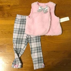 Furry Vest with Plaid Legging Baby Girl Outfit 24m